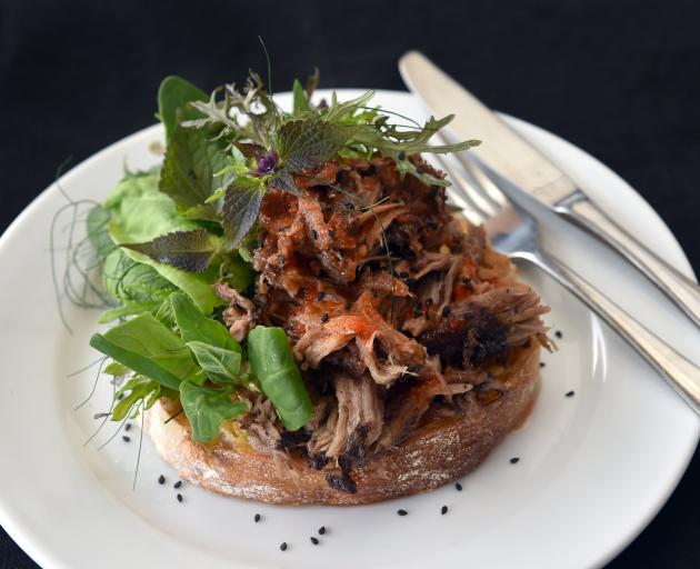 Sweet Chilli pulled Pork open sandwich at the Tuppence Cafe in Waverley. PHOTO: PETER MCINTOSH