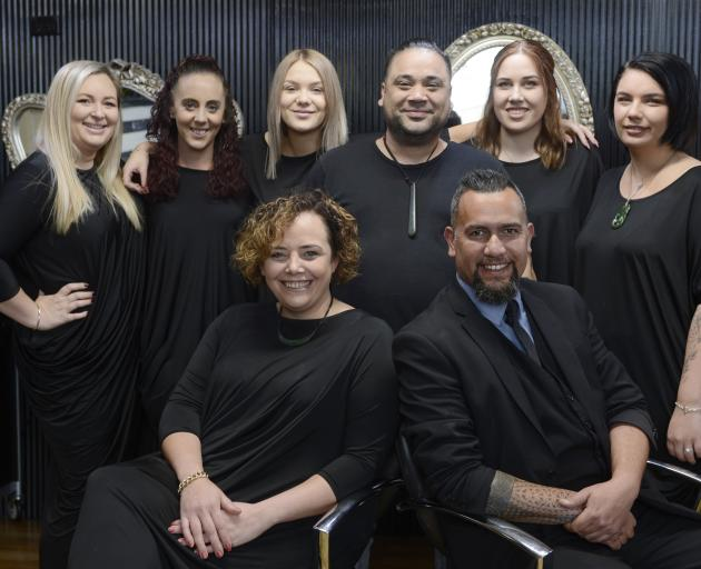 Ria and Sonna Reihana (front) with the Aurum Hairstylists team (from left) Bonna Martin, apprentices Becky Greenall and Rhianna Robinson, Mason Robust, Sydney Mowat and Nakita Reihana. Photo: Gerard O'Brien