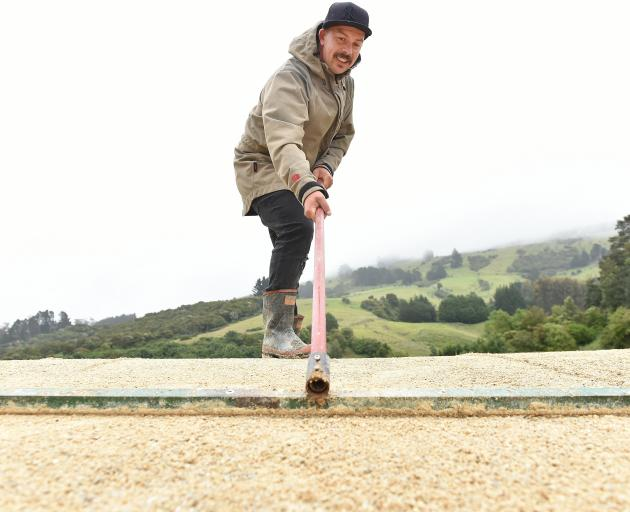 Dunedin BMX club volunteer Wayne Gill rakes the track surface on Saturday in preparation for the South Island Championships next month