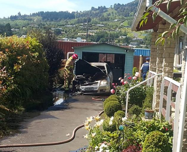 A car exploded in Mosgiel this morning. Photo: George Block