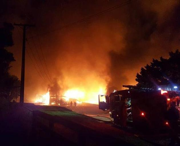 A poultry farm in West Auckland was razed to the ground. Photo: Supplied via RNZ