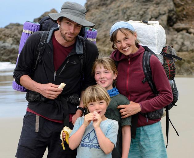 The Rapsey family, of Dunedin, on the beach near Te Arai Point, on the Mangawhai to Pakiri Beach stretch of Te Araroa Trail. Photo: Supplied