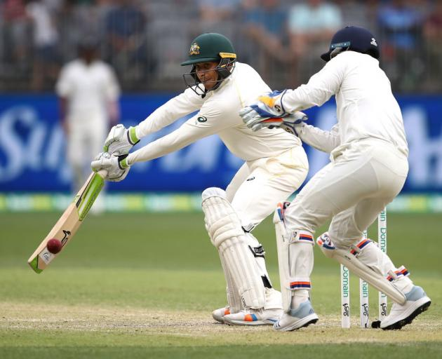 Usman Khawaja of Australia bats during day three of the second match in the Test series between Australia and India at Perth Stadium. Photo: Getty Images