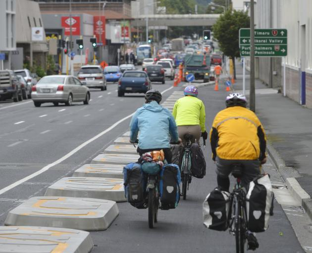 Dunedin's one-way cycle lane system is almost complete, and pretty much ready to use. David Loughrey tried the system out, along with NZ Transport Agency project manager Simon Underwood. Photo: Gerard O'Brien