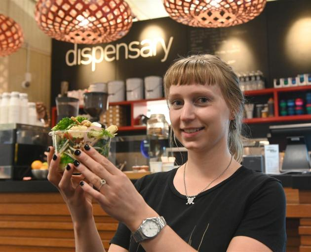 Viv Stewart , who is manager of the Dispensary Cafe at Dunedin Public Hospital holds a salad from the cafe's healthy food range. Photo: Linda Robertson