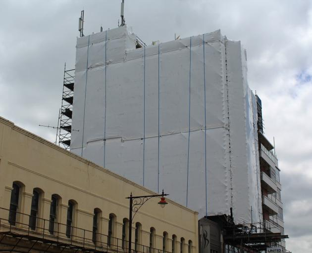The wall on the Kelvin Hotel where a 24m mural will be revealed in January. Photo: Logan Savory