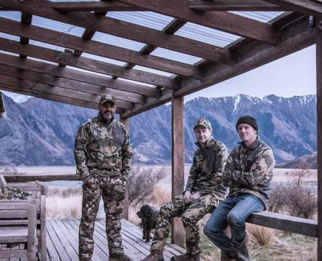 Robert Wilson (centre), founder of outdoor clothing brands Hunters Element and Riverworks. Photo: Supplied