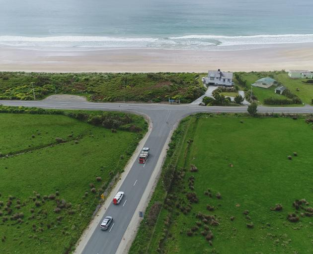A section of Southland's Catlins coast alternative route that has been sealed to make it safer...