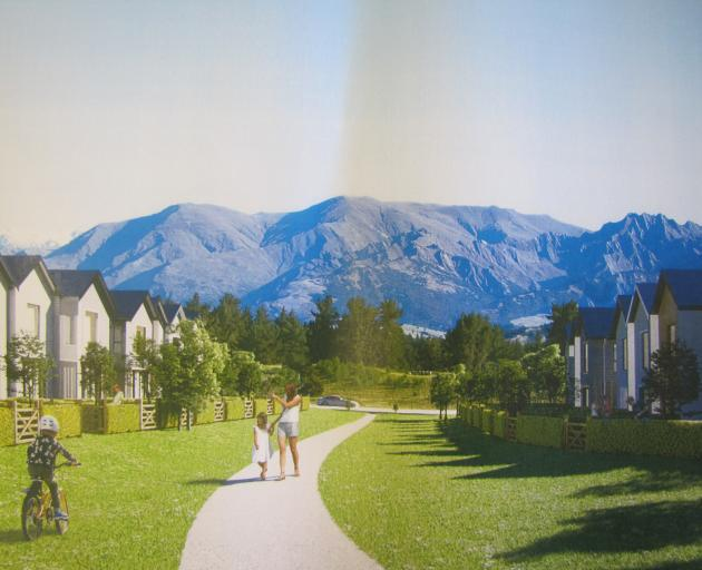 An artist's impression of 20 terrace houses proposed for Wanaka's Northlake special zone. Image: Supplied