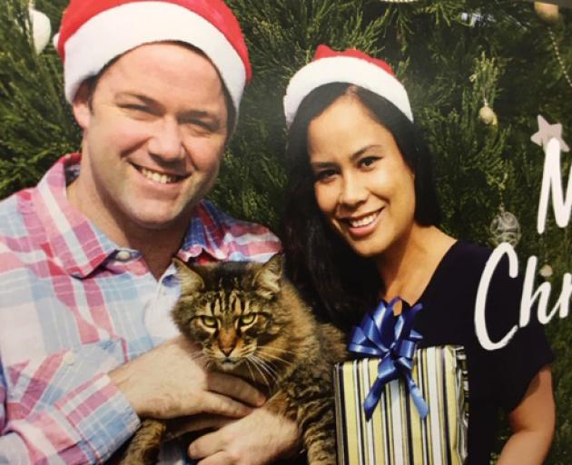 Clutha-Southland National MP Hamish Walker and his partner Penny Tipu on their Christmas card. Photo: Supplied