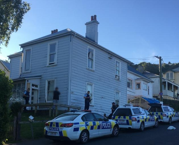 Police attend the scene of a stabbing in Clyde Hill this evening. Photo: George Block