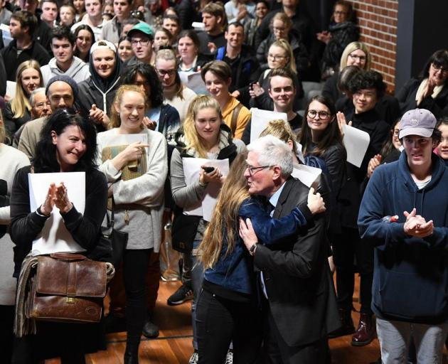 Law students and staff welcome Prof Henaghan to a farewell event in University of Otago Union...