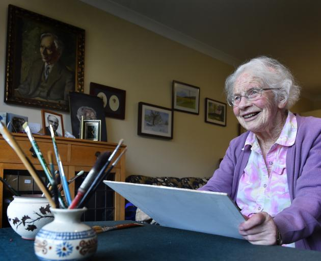 Ryman resident Honor McKellar with her art works. PHOTO: PETER MCINTOSH