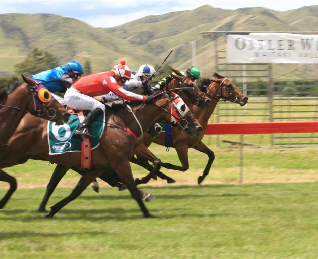 Race 4, the Oamaru Jockey Club Maiden 1400, features a close finish.