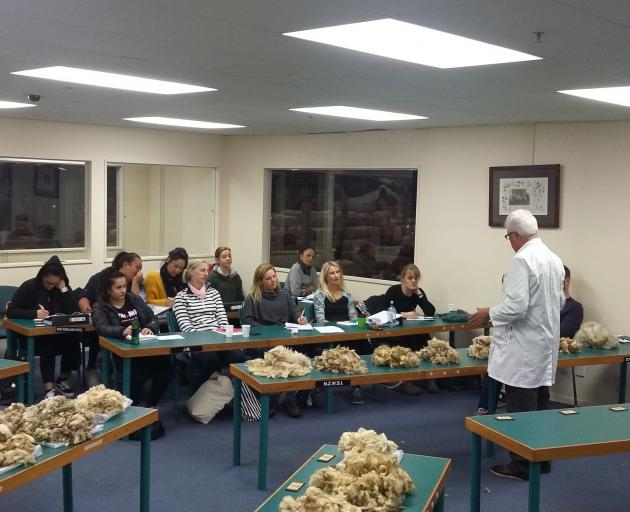 Students take a wool class run by the Taratahi Institute of Agriculture. Photo: Supplied