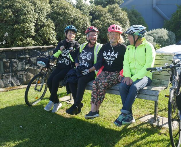 Rasa School of Dance members (from left) Deborah Bell, Loraine Whitwell, Carolyne Smith (all 71) and Helen Flockton (68) have been cycling and walking to dance practice in preparation for the school's concert. Photo: Jessica Wilson