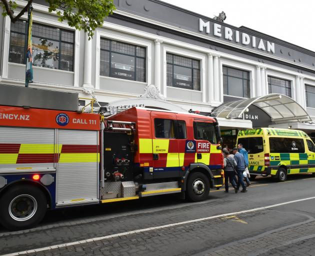 Emergency services outside Meridian mall today where a boy became stuck in a vending machine....