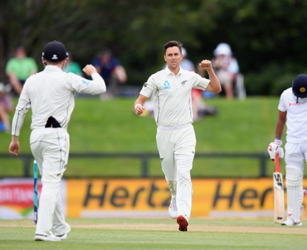 89e60745832 Trent Boult of New Zealand celebrates after dismissing Suranga Lakmal of  Sri Lanka. Photo