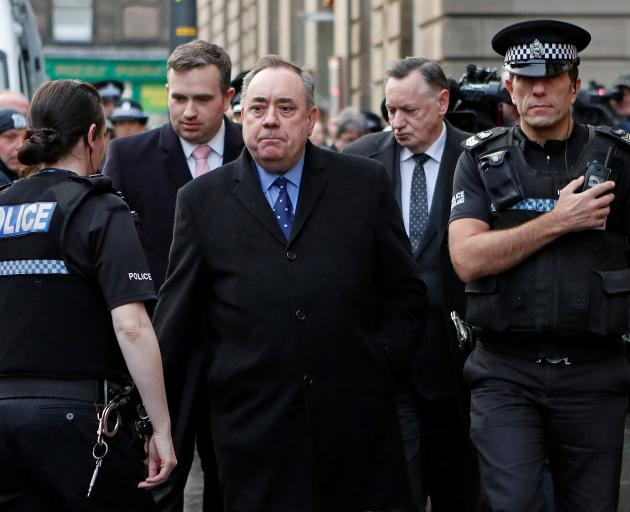 Former First Minister of Scotland Alex Salmond leaves after his court appearance at the Edinburgh Sheriff Court, in Edinburgh. Photo: Reuters