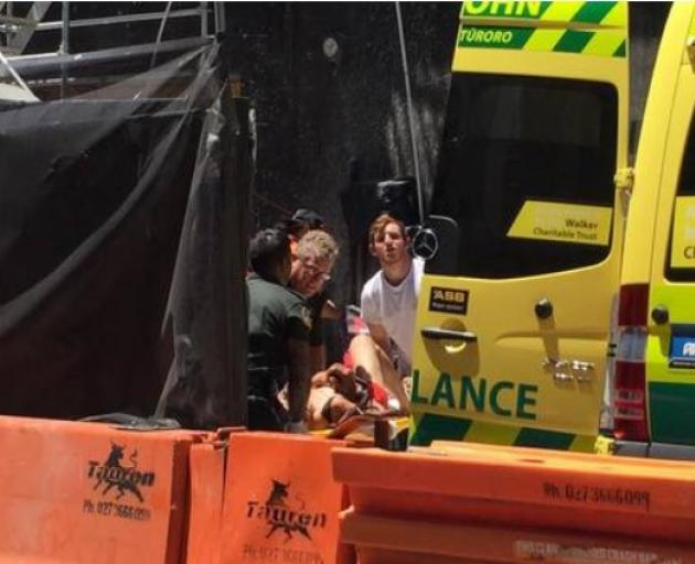 The construction worker was taken to hospital after a worksite accident on Graham St in central...