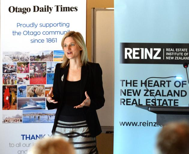 Bindi Norwell, chief executive of the Real Estate Institute of New Zealand, during a presentation in Dunedin. Photo: Linda Robertson