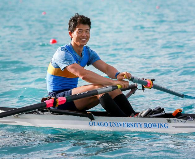 Japanese rower Daichi Nakamura competes for the Otago University Rowing Club at last weekend's Canterbury Championships in Twizel. Photo: Sharron Bennett
