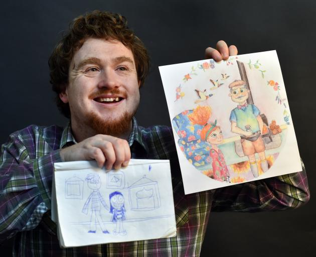Cody Knox with his rough drawing of the characters in new children's book My Grandpa's Jars and the final rendering. Photo: Peter McIntosh