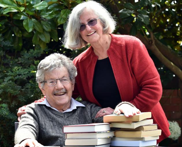Dementia residential care patient David Millar enjoys the sun at  his Dunedin home, with wife Susan. Photo: Peter McIntosh