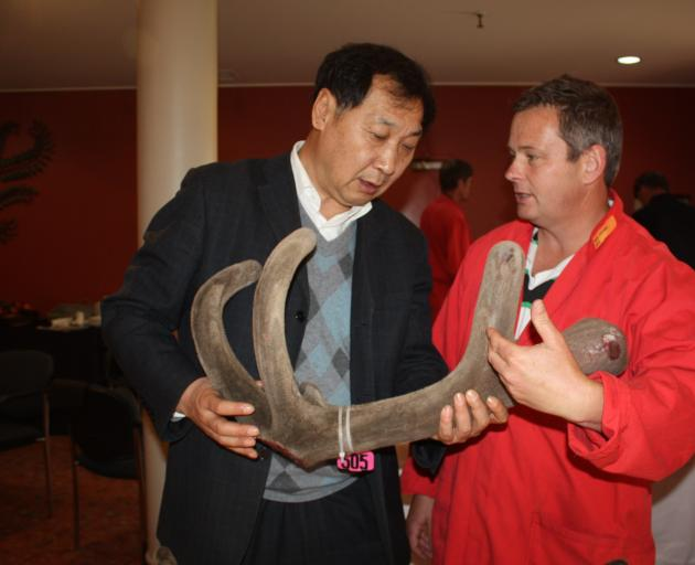 Deer Industry NZ Asia markets manager Rhys Griffiths (right) with Professor of Chinese Medicine Quankai Wang, from Jilin Agricultural University, several years ago. Photo: Allison Rudd