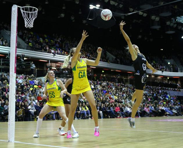 Australian Diamonds' Stephanie Wood (left) and New Zealand Silver Ferns Casey Kopua battle for the ball during the Vitality Netball International Series match at The Copper Box, London. Photo: Getty Images