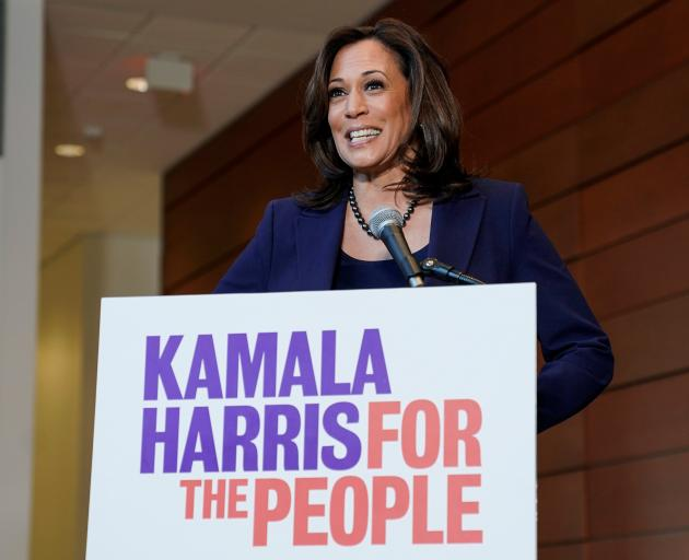 Senator Kamala Harris speaks to the media after announcing she will run for president of the United States. Photo: Reuters
