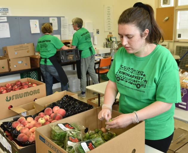 KiwiHarvest volunteer Olivia Eyles sorts through rescued food at the organisation's Dunedin...
