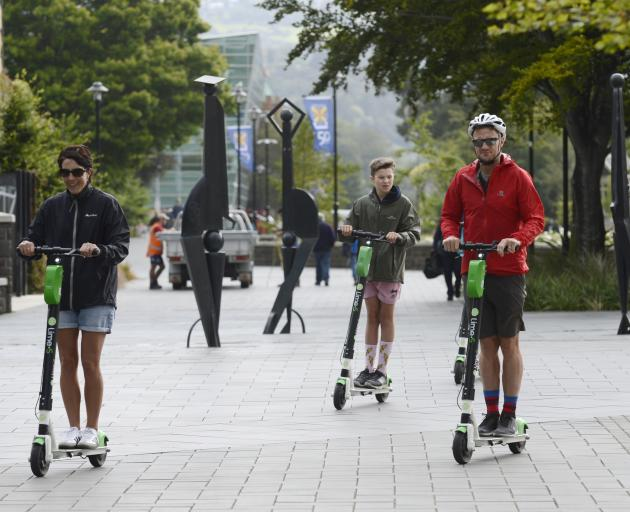 Lime scooter users are not allowed to go through the University of Otago campus, but a group was spotted there yesterday morning. Photo: Gerard O'Brien