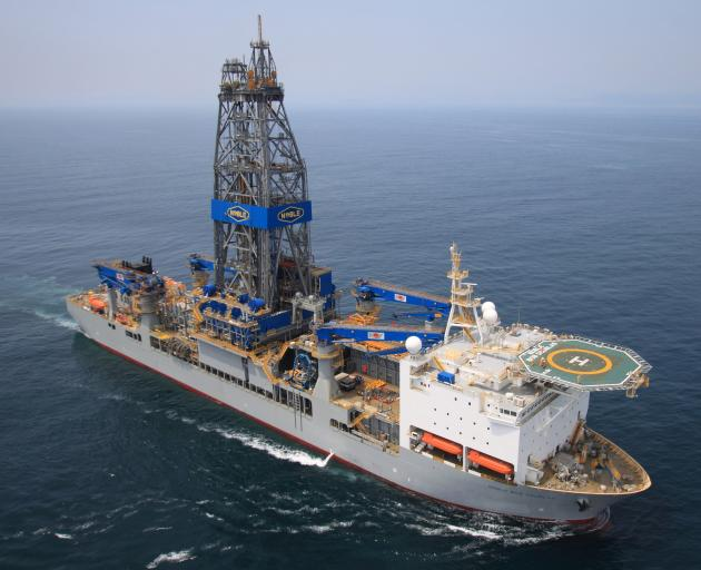 Drill ship Noble Bob Douglas unsuccessfully test-drilled for oil and gas off Otago's coast in early 2014. Photo: Supplied