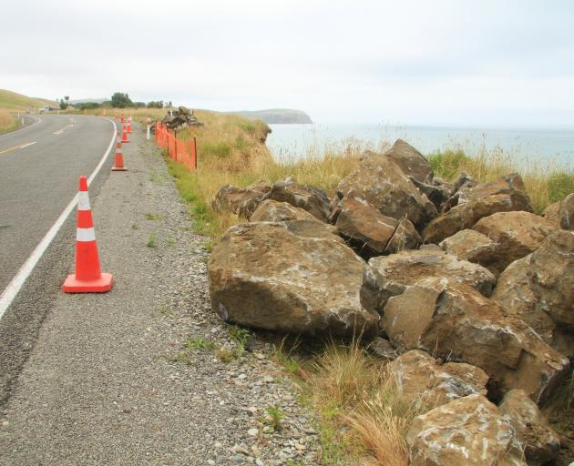 Rocks are stored at Beach Rd as up to four sites along the scenic route south of Oamaru await erosion protection work this summer. Photo: Hamish MacLean