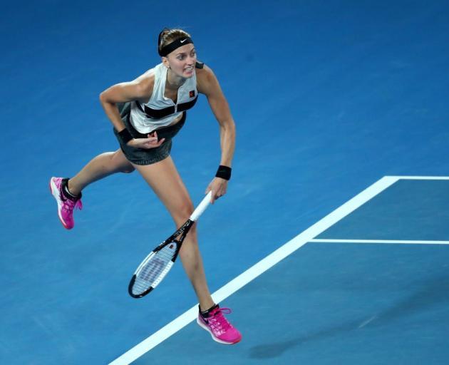 Petra Kvitova follows through on a serve during her semifinal win at the Australian Open. Photo:...