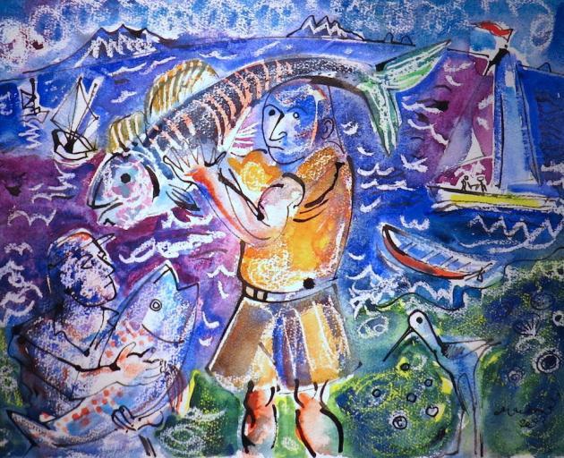 Fisherman  Hauraki Gulf, by Robert Macdonald