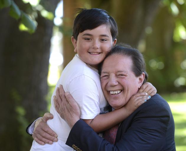 Sir Tim Shadbolt and his son Declan (6) celebrate the news of his knighthood in Invercargill last week. Sir Tim says the knighthood is also a recognition of the way Invercargill is again transforming itself into a thriving and innovative city. Photo: Gera