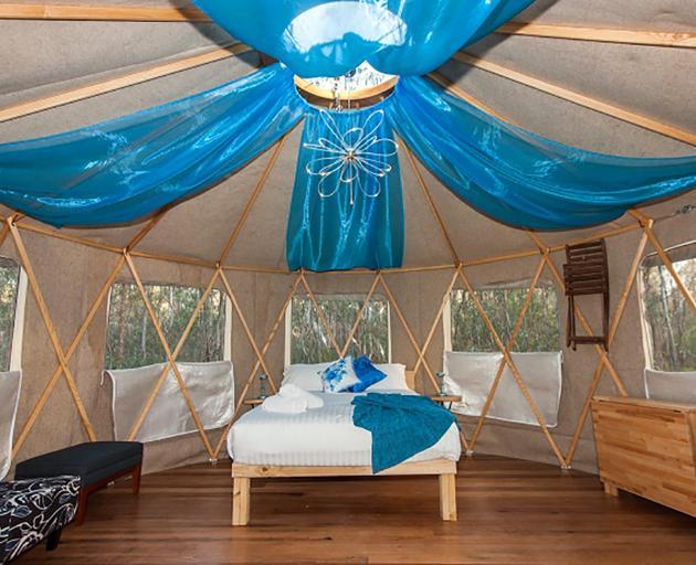 The interior of a yurt at Talo Retreat.