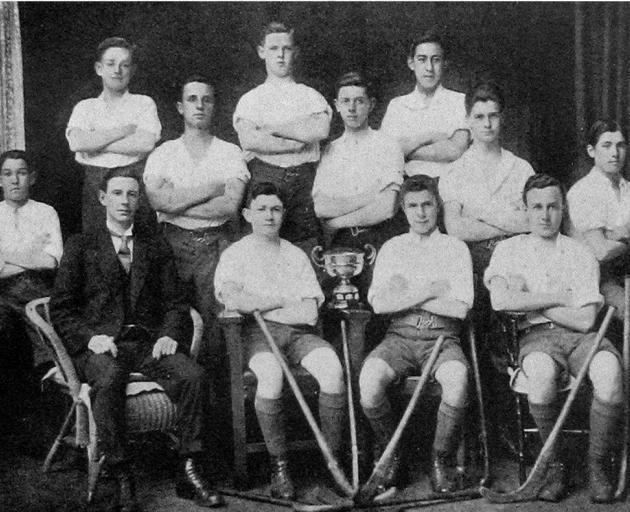 Dunedin Technical College A hockey team, winners of the Williamson Cup, 1918. Standing (from left): L. Harris. C. Lockhart, L. Young, S. Chirnside, M. Valpy, C. Sew Hoy, L. Joseph, A. Culbert. Sitting: J. Hogg (secretary, Hockey Association), S. Manley (c