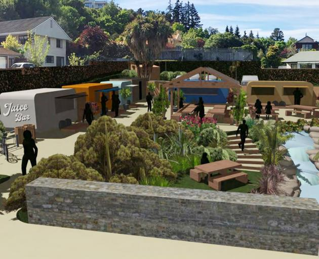 Resource consent has been granted for the development of this food-truck village in central Wanaka. Photo: Supplied