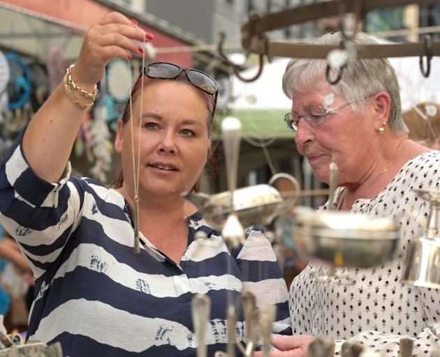 Deborah Milford and  her mother Vivienne, visiting from Adelaide, inspect the unusual jewellery...