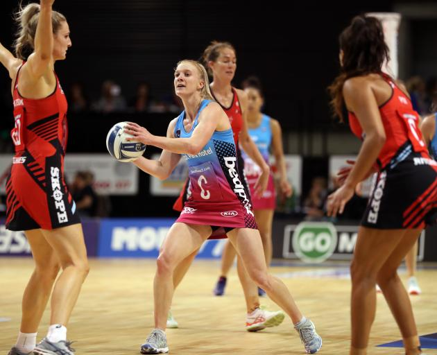 The Steel's Shannon Saunders in action during her 100th game, last night's ANZ Premiership match between the Tactix and the Steel at Horncastle Arena, in Christchurch. Photo: Michael Bradley