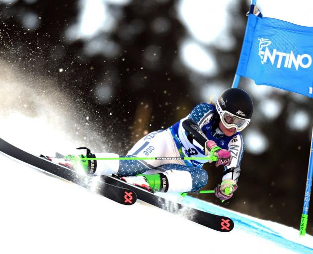 Queenstown skier Alice Robinson shows the style which won her the world junior giant slalom title at the world junior ski championships in Italy yesterday. Photos: Val Di Fassa 2019