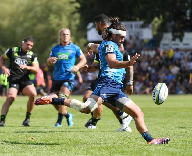 Augustine Pulu of the Blues during the Super Rugby pre-season match between the Hurricanes and the Blues. Photo: Getty Images