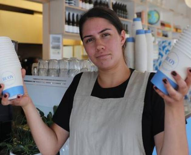 Bailey Dewar from Buoy Cafe said it was logical that takeaway cups were for customers taking away. Photo: NZ Herald