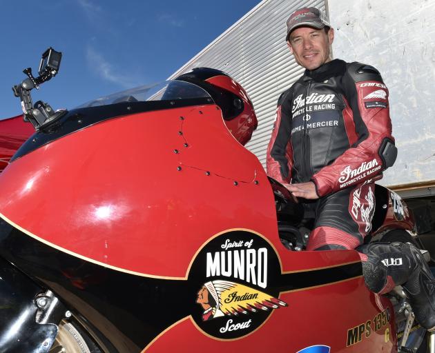 Burt Munro's great-nephew Lee Munro, astride Spirit of Munro, a record attempt bike that went to...