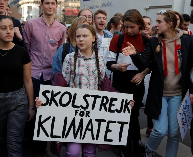 Activist Greta Thunberg (centre). Photo: Reuters