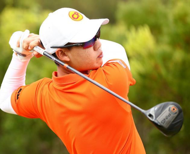 上周日,泰国爵士队的Janewattananond在澳大利亚吉朗第13海滩高尔夫俱乐部维多利亚公开赛期间开球。照片:Getty Images