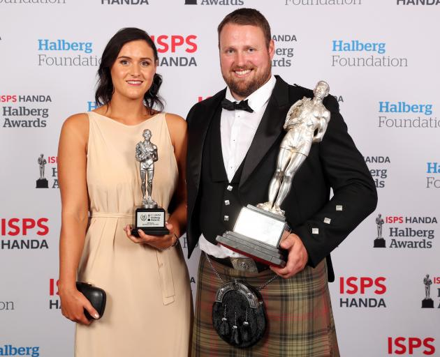 Tom Walsh and his partner, Dana Mulcahy, at the Halberg awards at Spark Arena in Auckland last...